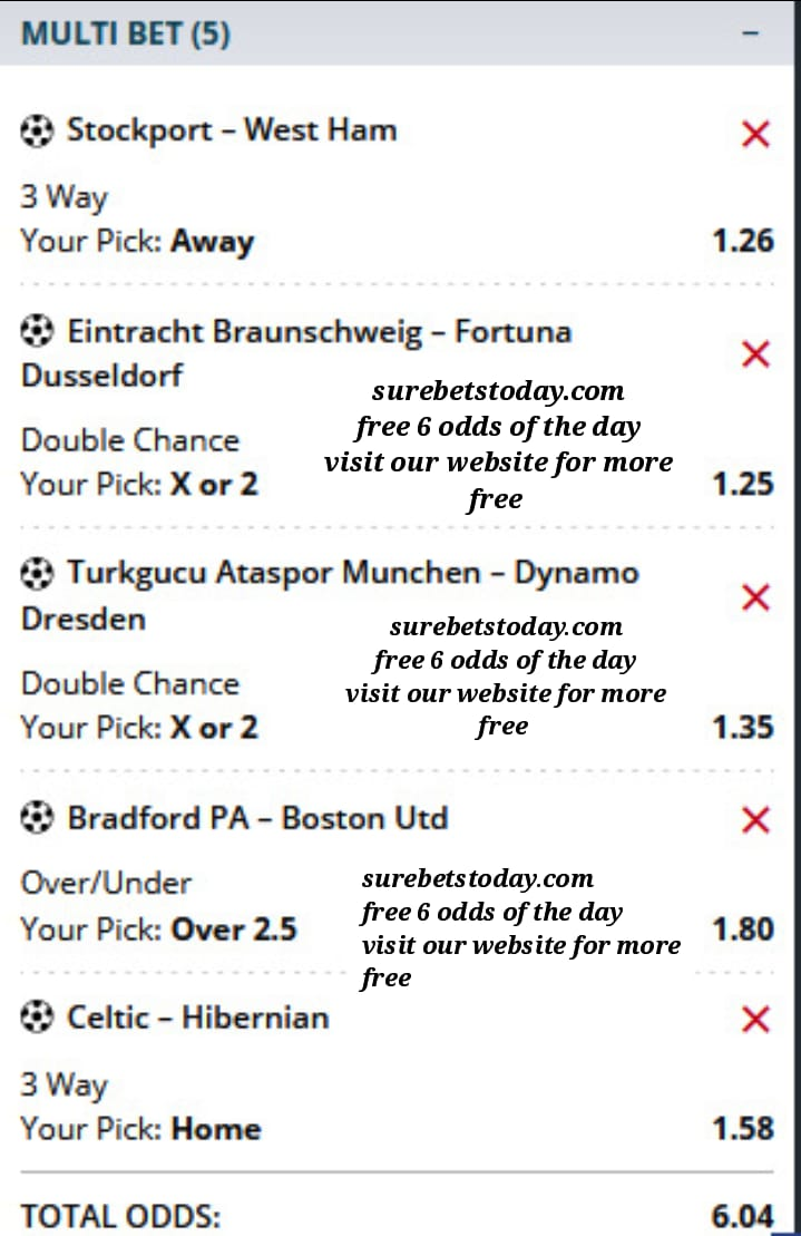 free six odds of the day ticket