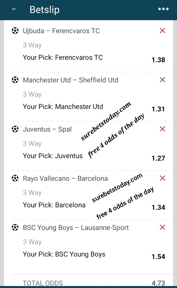 wednesday free 4 odds bet slip
